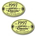 PAIR Distressed Aged Established 1997 Aged To Perfection Oval Design Vinyl Car Sticker 70x45mm Each